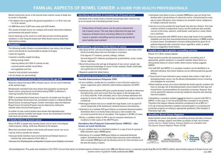 Familial Aspects Of Bowel Cancer Genetic Link Genetic Support Network Of Victoria