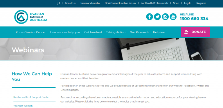 Ovarian Cancer Webinars Genetic Link Genetic Support Network Of Victoria